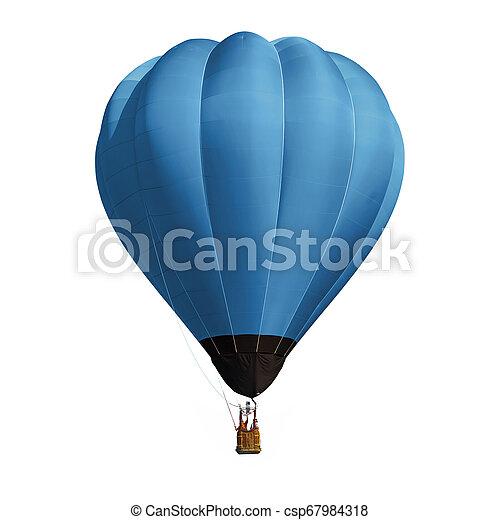 ballon bleu, blanc, isolé, fond - csp67984318