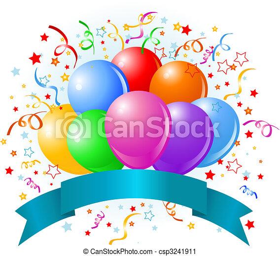 Clipart Anniversaire ballons, anniversaire, conception. ribbon., espace, &, anniversaire