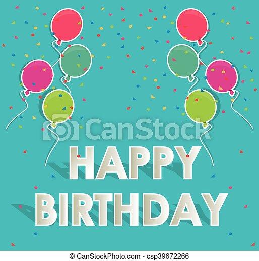 ballons, anniversaire, conception, heureux - csp39672266