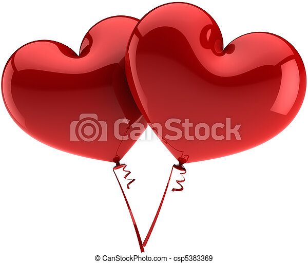 Ballons As Hearts Love Symbols Heart Balloons Couple Total Red
