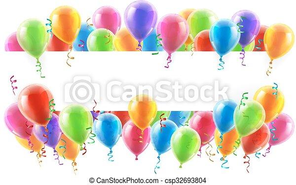 ballons, bannière, fête - csp32693804
