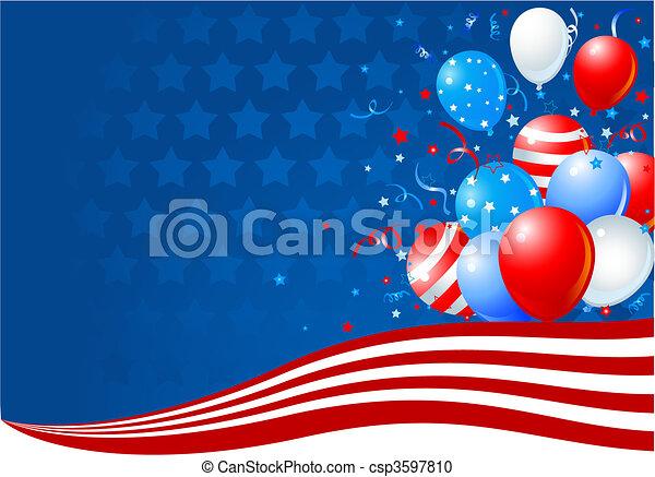ballons, drapeau américain, vague - csp3597810