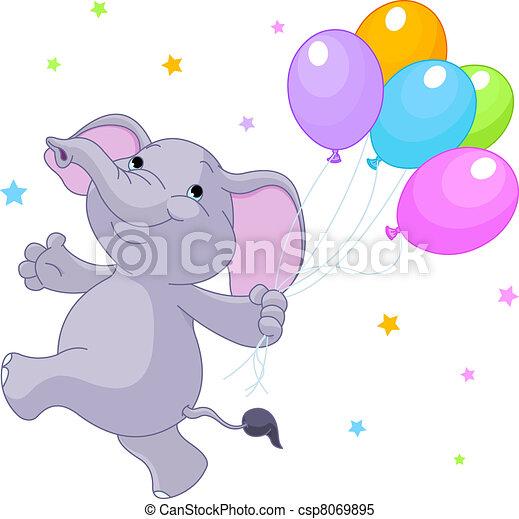 ballons, elefant - csp8069895