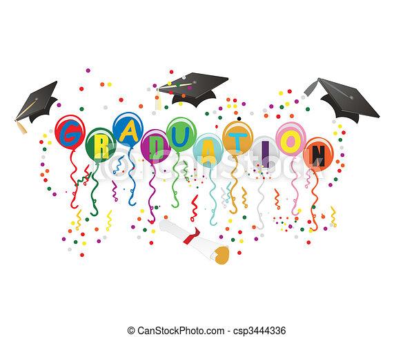 ballons, graduación, ilustración, celebración - csp3444336