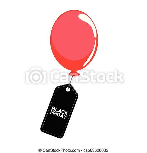 balloon, 金曜日, 黒, ラベル - csp63628032