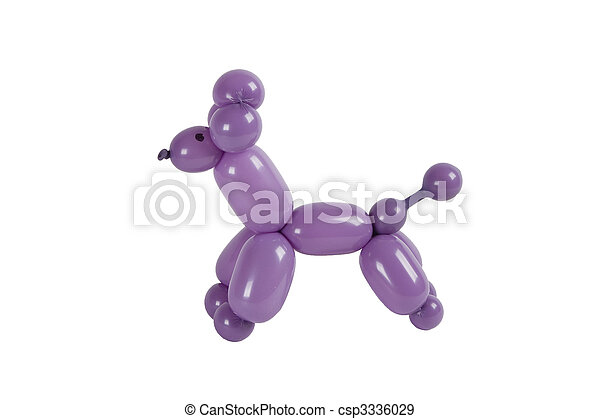 Balloon animal purple twisted poodle isolated on white - csp3336029