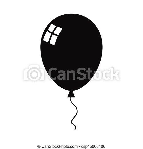 balloon black silhouette icon illustration isolated on white