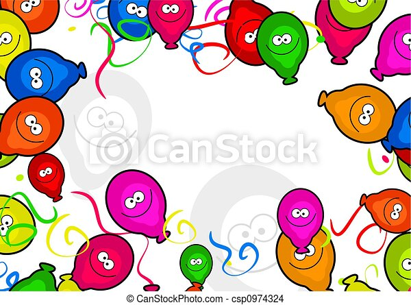 Balloon border decorative cartoon birthday party balloon drawing balloon border csp0974324 thecheapjerseys Gallery