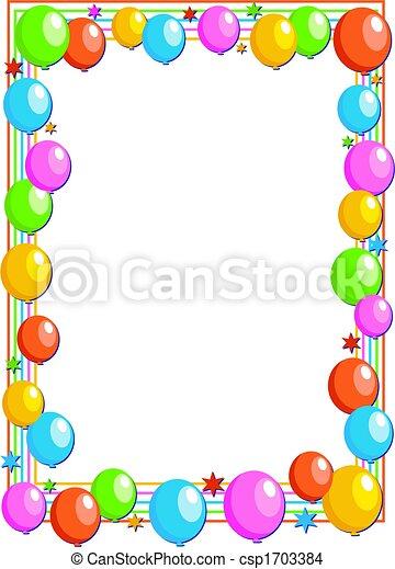 Balloon border colourful birthday party balloon page border design balloon border csp1703384 thecheapjerseys Gallery