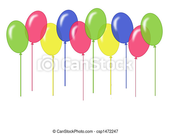 Balloon border a border of balloons in bright primary colors on white balloon border csp1472247 thecheapjerseys Images