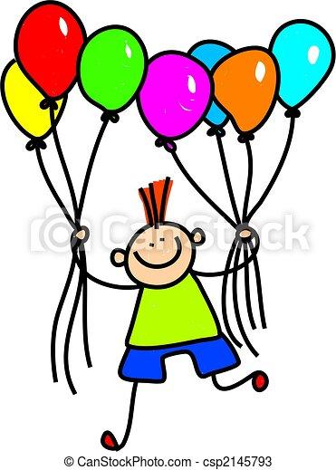 Balloon Boy Whimsical Drawing Of A Cute Little Boy