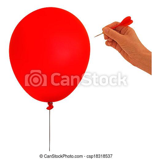 Balloon, bubble burst - metaphor, hand and dart on white backgro - csp18318537