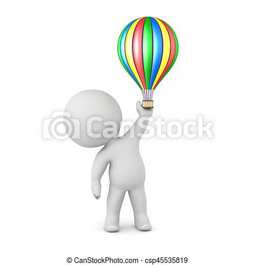 balloon, charakter, stavět na odiv, horký, malý, 3 - csp45535819