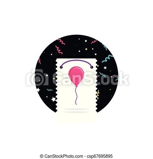 balloon, fødselsdag, helium, card, glade - csp67695895
