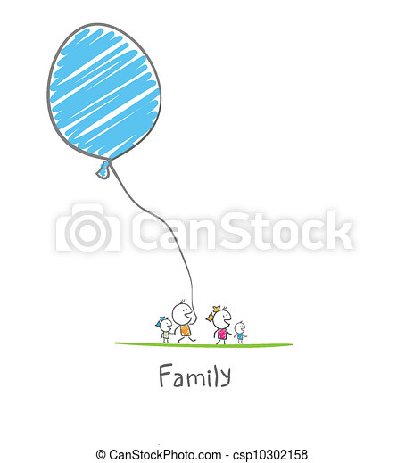 balloon, famille, tenue, heureux - csp10302158