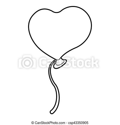 Balloon Heart Icon Outline Style Balloon Heart Icon Outline