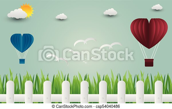 Balloon heart with bird flying into the sky. paper art. vector Illustration - csp54040486