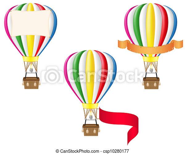 balloon, illustration, air, chaud, vide, bannière - csp10280177