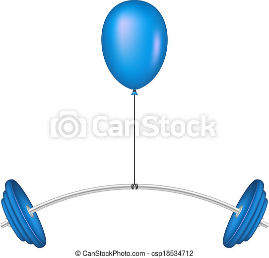 Balloon lifting a heavy barbell - csp18534712