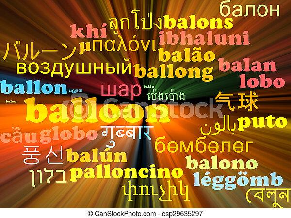 Balloon multilanguage wordcloud background concept glowing - csp29635297