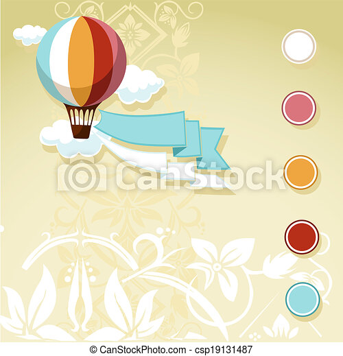 balloon, ouderwetse , vliegen, ontwerp - csp19131487