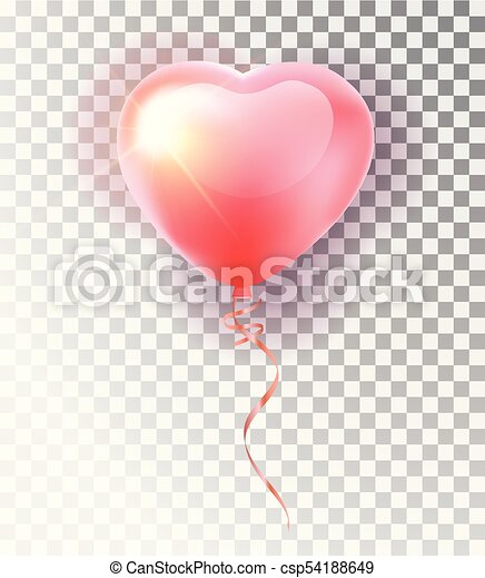 Balloon Pink Heart Set Symbol Of Love Gift Valentine S Day Vector Realistic 3d Object Isolated Vector Object On A Transparent Background