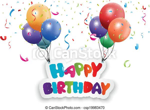 balloon, scheda compleanno, felice - csp19983470