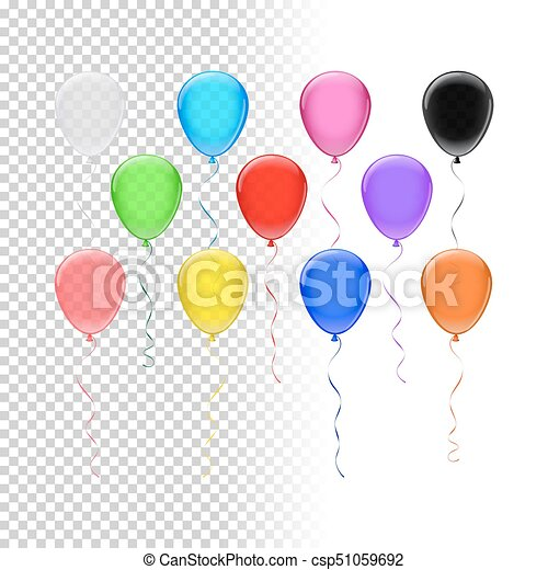 balloon set vector colored balloons on transparent background