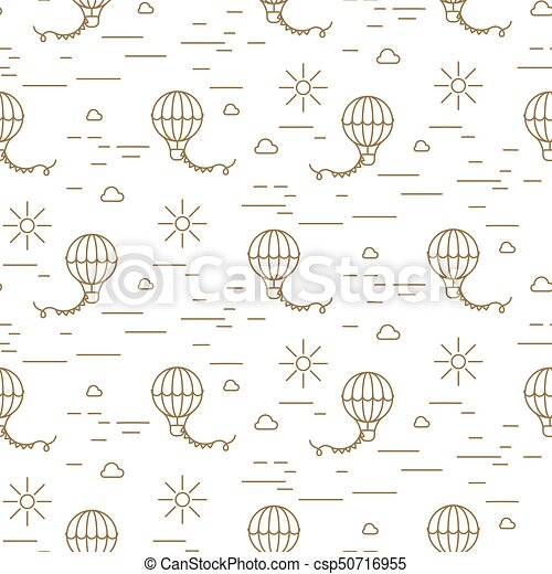 Balloon Simple Line Gold And White Seamless Vector Pattern