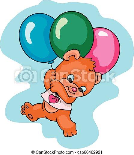 ballooning teddy bear - csp66462921