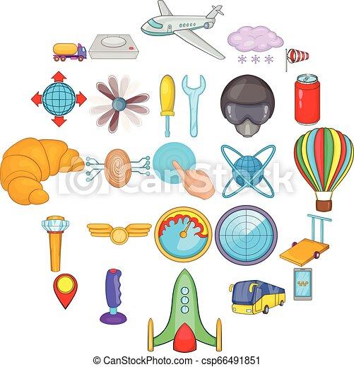 Balloonist icons set, cartoon style - csp66491851