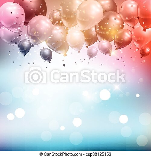Balloons and confetti background - csp38125153