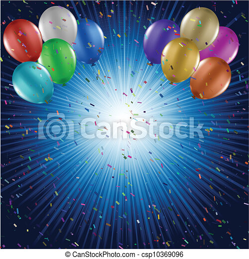 Balloons and confetti background - csp10369096