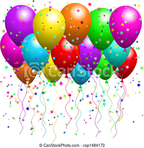 Balloons and confetti  - csp1484170