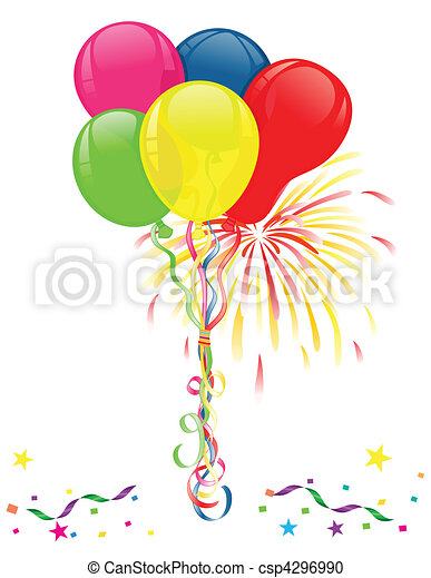 Balloons and fireworks for celebrations - csp4296990