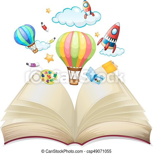Balloons and rockets in the book - csp49071055