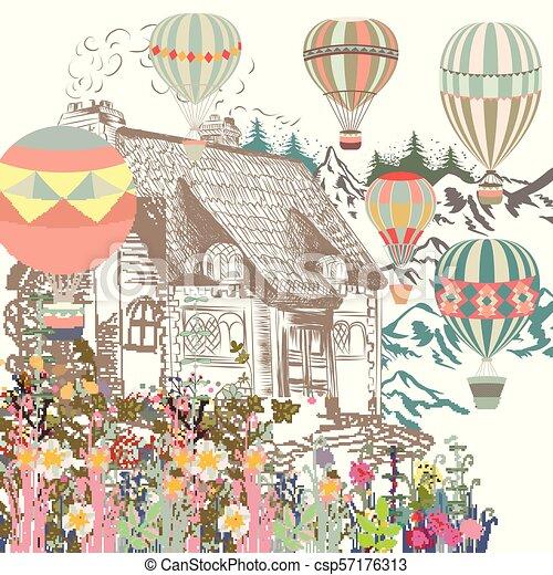 balloons., casa, boutique, ou, bandeira, antigas, ilustração, cartão, cute, europian, jardim, ar - csp57176313