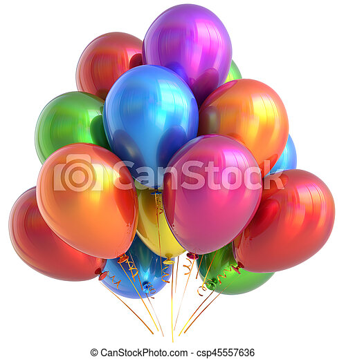 Balloons happy birthday party decoration glossy multicolored - csp45557636