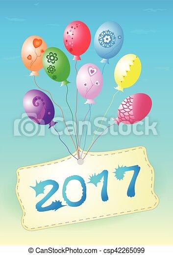 Balloons  Happy New Year 2017. - csp42265099