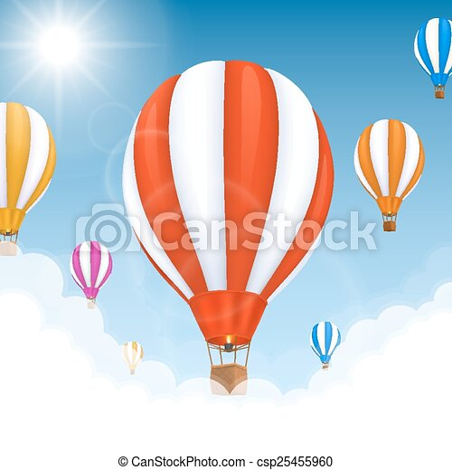 Balloons in the air. Vector - csp25455960