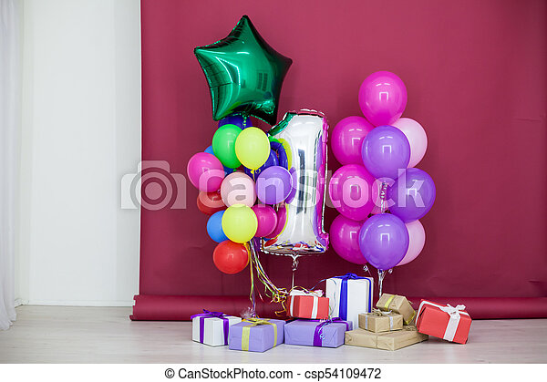 Balloons Of Different Colors With Gifts For Birthday
