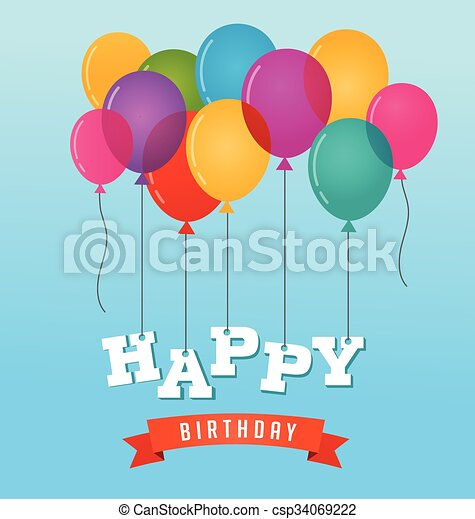 Balloons party happy birthday greeting card - csp34069222