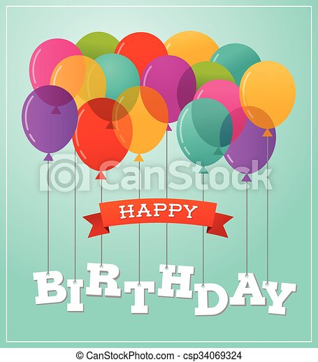 Balloons party happy birthday greeting card - csp34069324