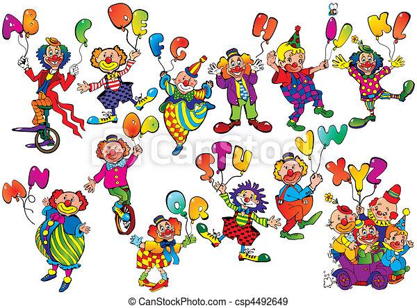 Payasos con globos. - csp4492649