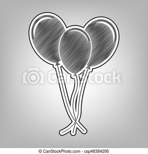 Balloons Set Sign Vector Pencil Sketch Imitation Dark Gray Scribble Icon With Dark Gray Outer Contour At Gray Background
