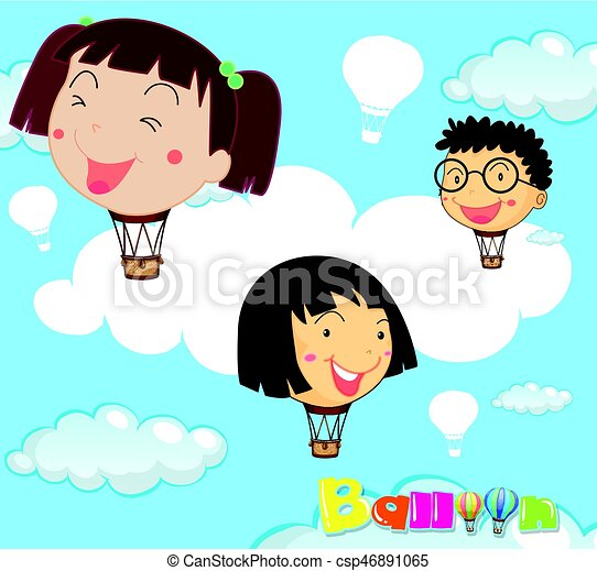 balloons with children head in the sky illustration clip art vector rh canstockphoto ca clip art skittles clip art skiing
