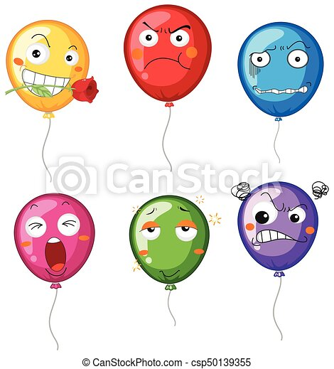 Balloons with differnet facial expressions - csp50139355