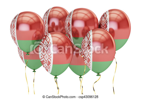 Balloons with flag of Belarus, holiday concept. 3D rendering - csp43096128