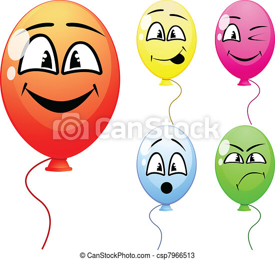 balloons with funny faces - csp7966513
