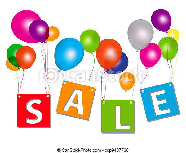Balloons with sale letters . Concept of discount. Vector illustration. - csp9407766